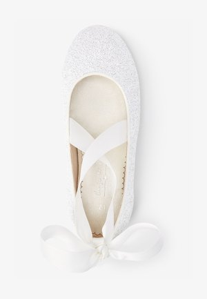 PEWTER GLITTER TIE  - Ballet pumps - off-white