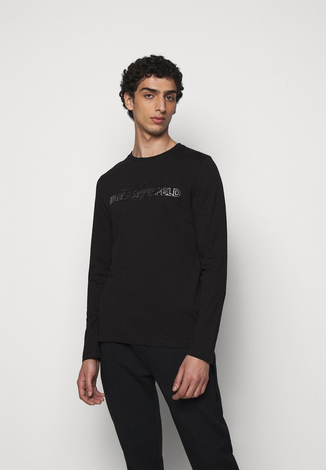 CREWNECK - Long sleeved top - black/silver