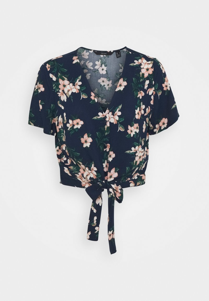 Vero Moda - VMSIMPLY EASY SHIRT TIE - Blouse - navy blazer/imma