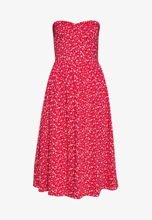 BANDEAU DRESS - Day dress - deep crimson