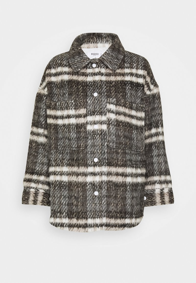 Missguided Petite - BRUSHED CHECKED SHACKET - Light jacket - brown