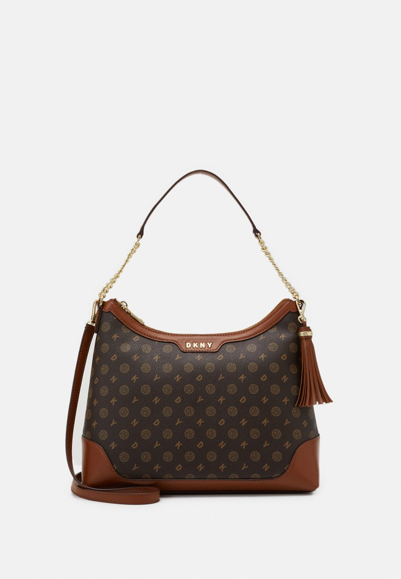 DKNY - POLLY HOBO LOGO - Handbag - bark/caramel