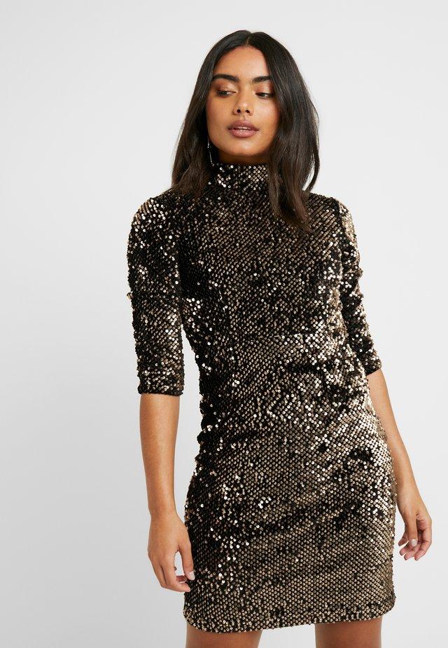 SEQUIN HIGH NECK DRESS - Cocktail dress / Party dress - gold