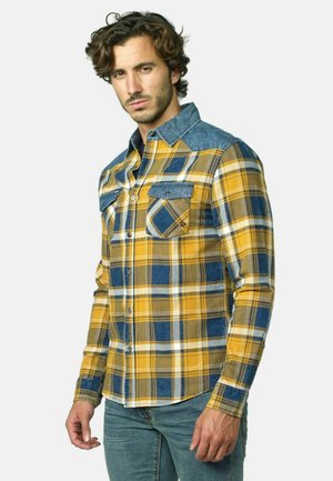 LONG-SLEEVED CHECKED - Camisa - ocre