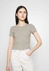 ONLY - ONLEMMA STRIPE - Print T-shirt - cloud dancer/blue/yellow stripes - 0