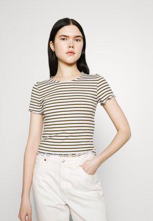 ONLEMMA STRIPE - T-shirts med print - cloud dancer/blue/yellow stripes