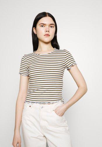 ONLEMMA STRIPE - Print T-shirt - cloud dancer/blue/yellow stripes