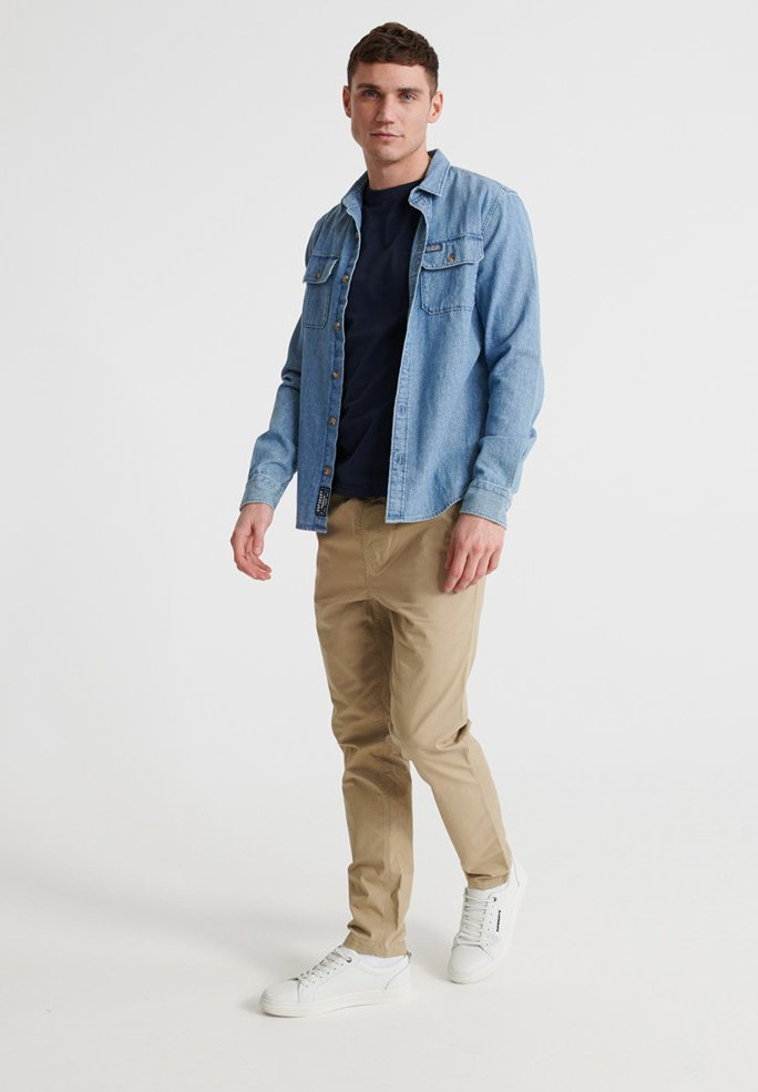 Superdry WORLDWIDE - Pantalon classique - grain khaki