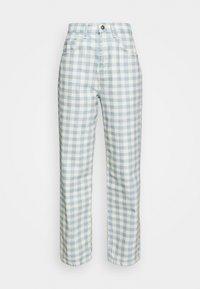 GINGHAM - Straight leg jeans - cream/blue
