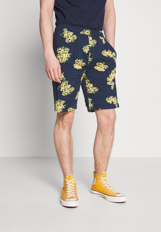 PULL ON FLORAL PRINT - Kraťasy - navy