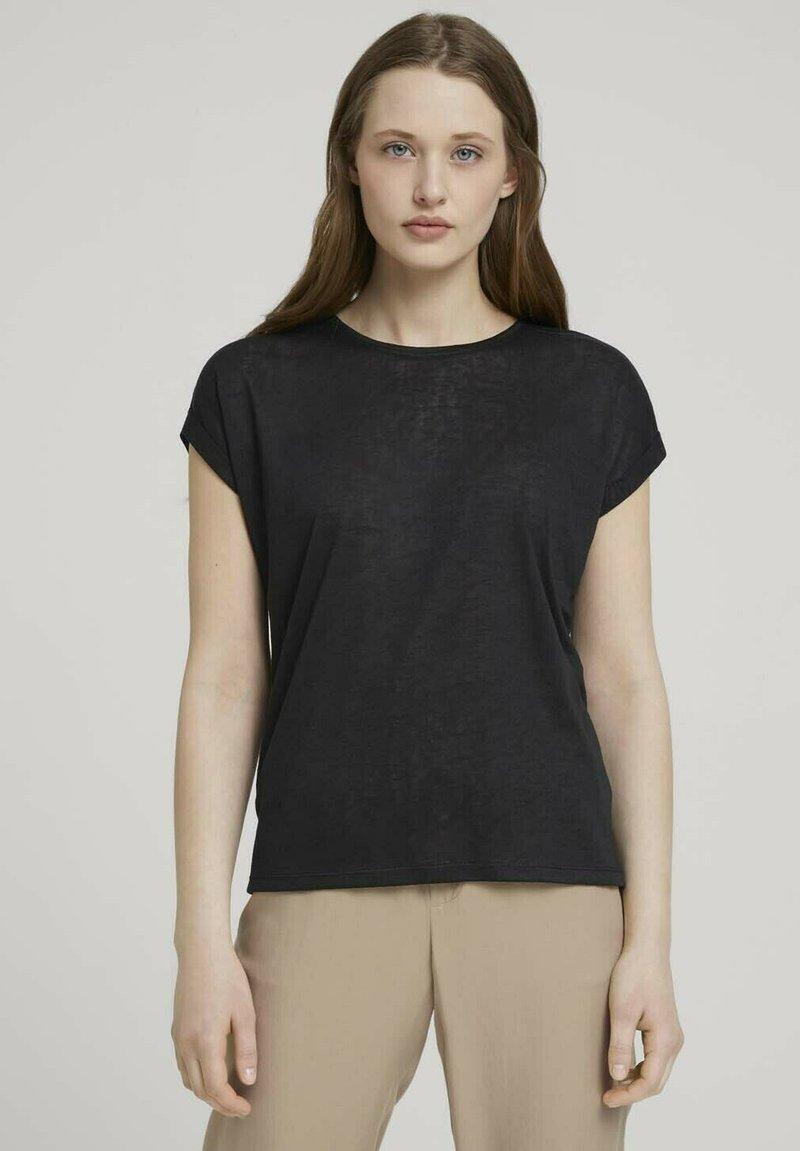 TOM TAILOR DENIM - Basic T-shirt - deep black