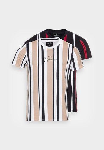 2 PACK STRIPES - T-shirt med print - black stripe/tan stripe