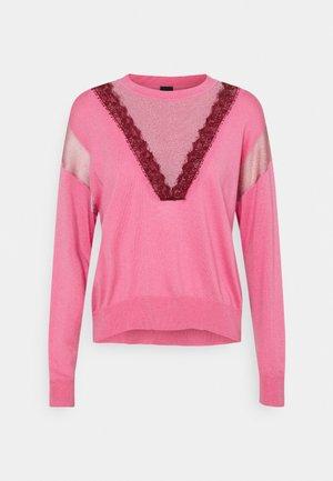 CALITTO MAGLIA MISTO CON PIZZO LING - Sweter - pink