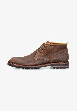 VAN LEER - Lace-up ankle boots - cognac