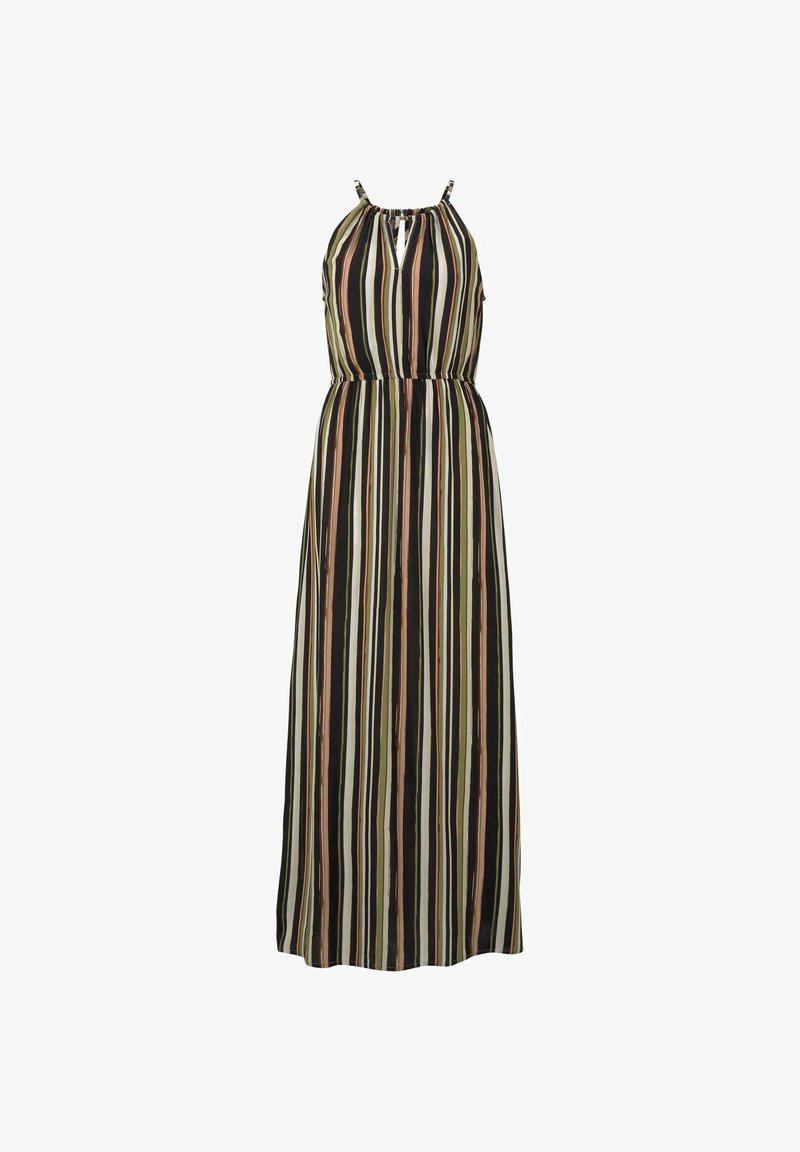 Tom Tailor Denim Kleider Jumpsuits Gestreiftes Neckholder Kleid In Maxi Lange Maxikleid Black Multicolor Stripe Mehrfarbig Zalando De