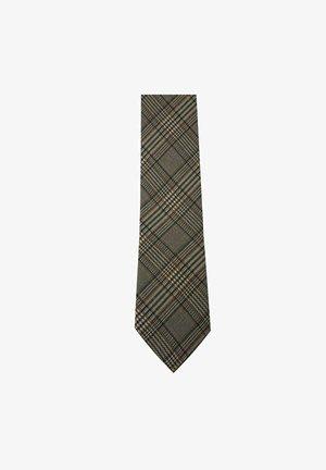 TWEEDY VINTAGE WOLLKRAWATTE - Tie - beige schwarz braun karos hellbraun dunkelbraun kariert