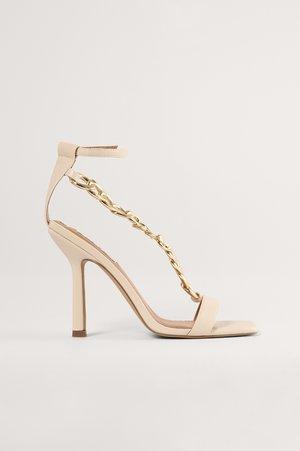 CHUNKY CHAIN - Sandals - light beige