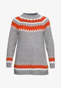 Sheego - Jumper - mottled grey/coral - 4
