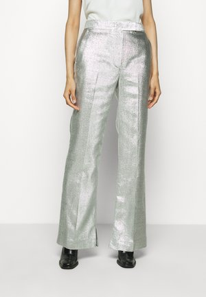 METALLIC LAME LEG TROUSER - Bukse - silver