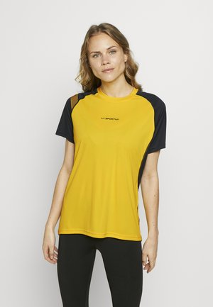 MOTION - Print T-shirt - yellow/black