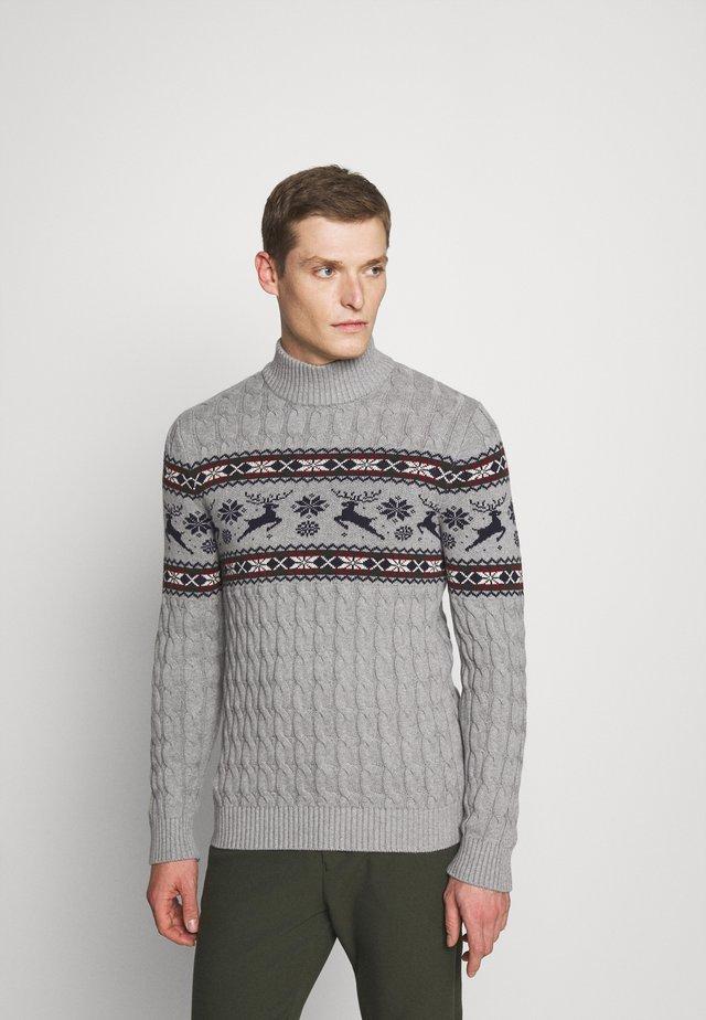 SLHOHMYDEER HIGH NECK - Stickad tröja - medium grey