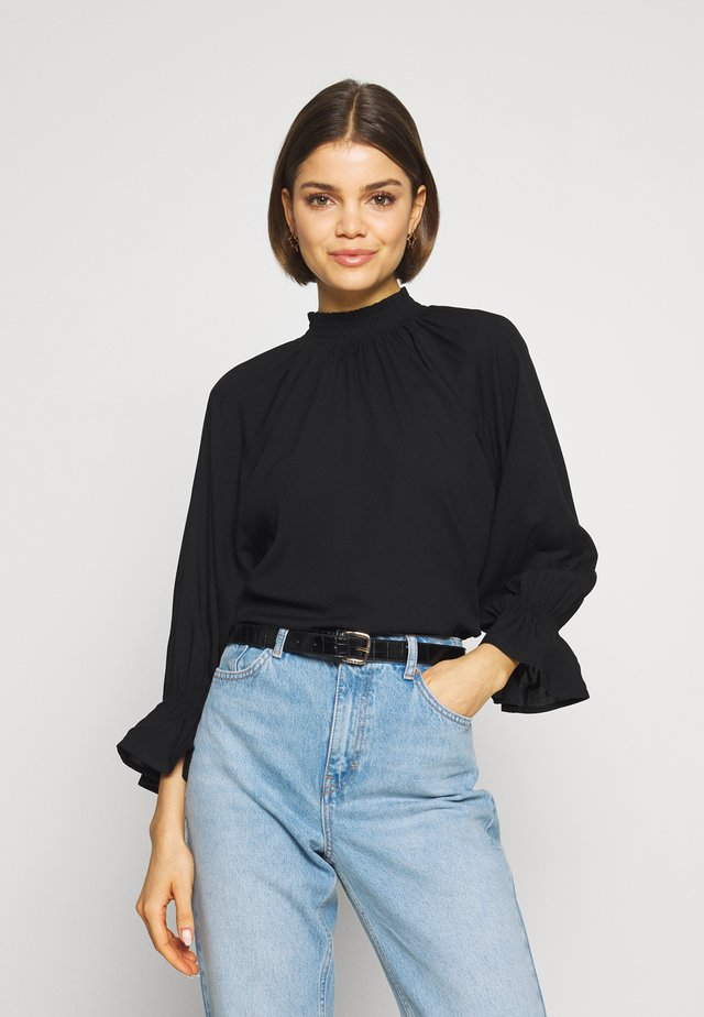 MOCK NECK FRILL SLEEVE - Blouse - black