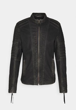 CADAN - Leather jacket - black stone wash