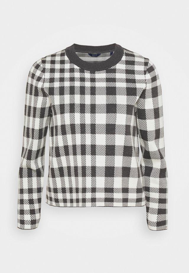 CHECKED INTARSIA CREW - Sweter - antracit/melange