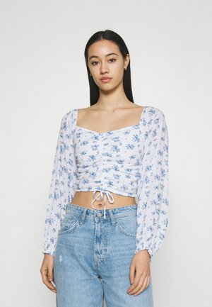 CINCH ON OFF SHOULDER - Blouse - white/blue