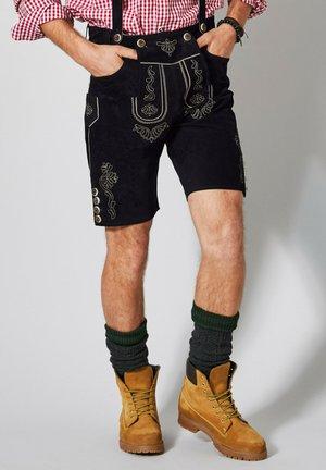 mit Hosenträgern - Leather trousers - schwarz