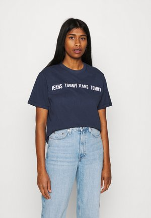 CROP TAPE TEE - Print T-shirt - twilight navy