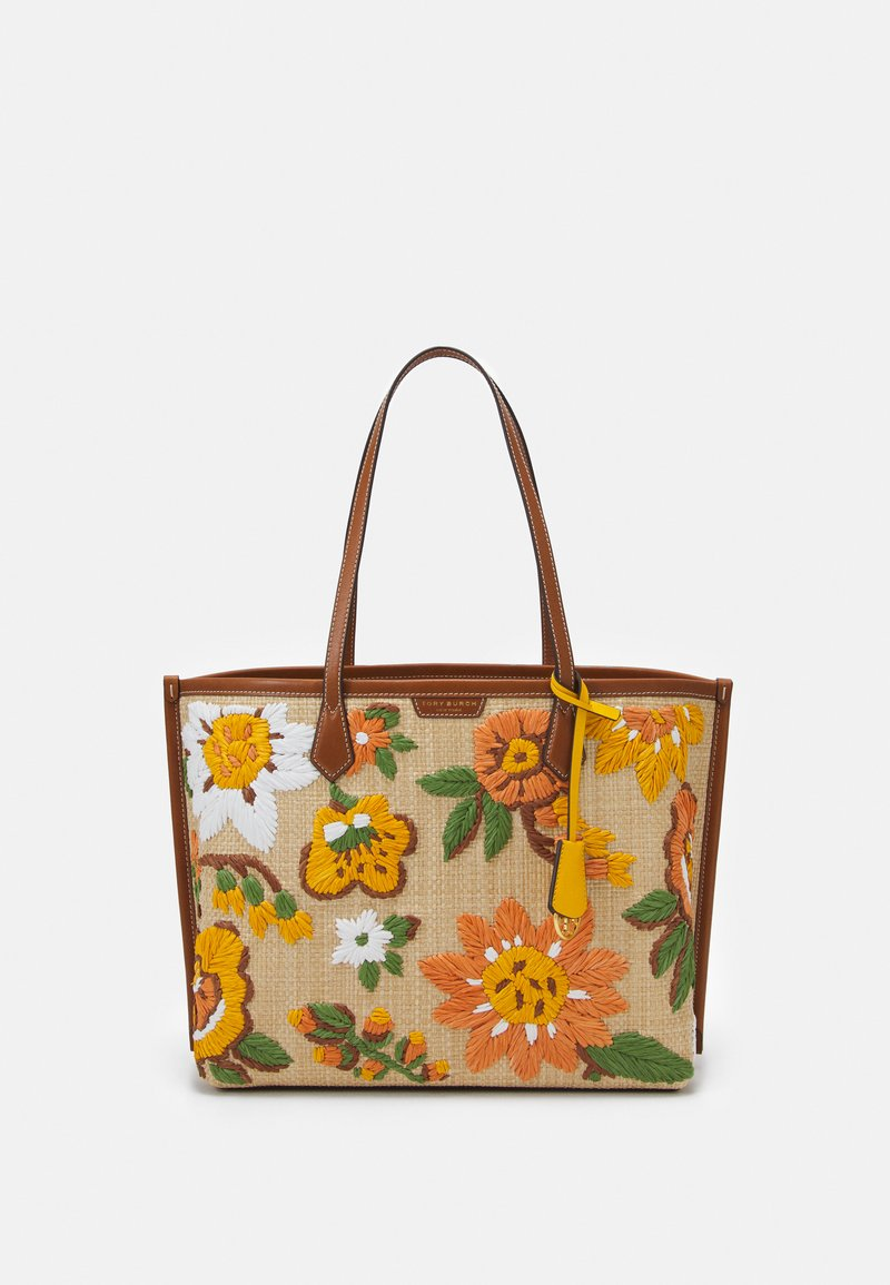 Tory Burch - PERRY EMBROIDERED TRIPLE COMPARTMENT TOTE - Tote bag - natural