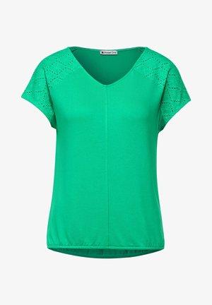 MIT SCHULTERDETAIL - Print T-shirt - grün