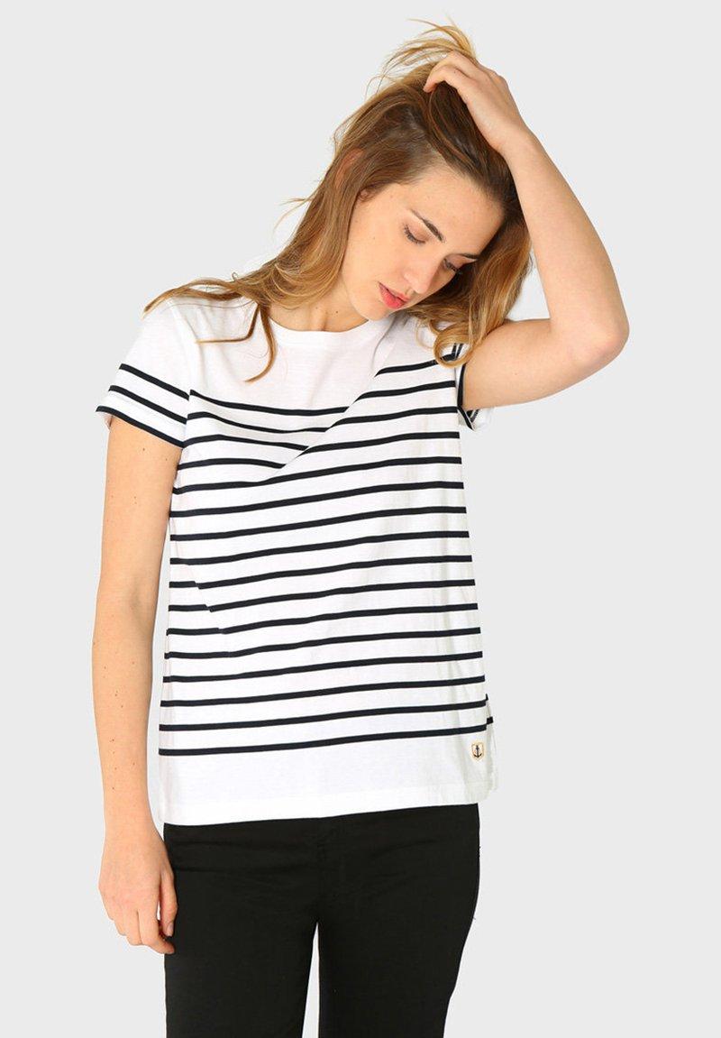 Armor lux - ETEL MARINIÈRE - Print T-shirt - blanc rich navy