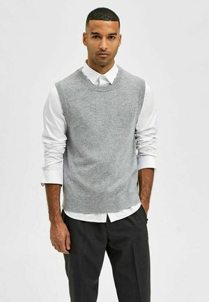 RUNDHALSAUSSCHNITT - Stickad tröja - medium grey melange