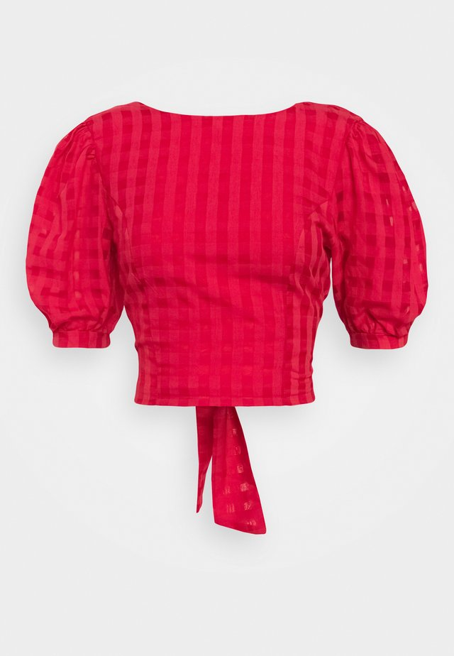 PUFF SLEEVE CROP WITH FRONT TIE - Bluzka - red tonal