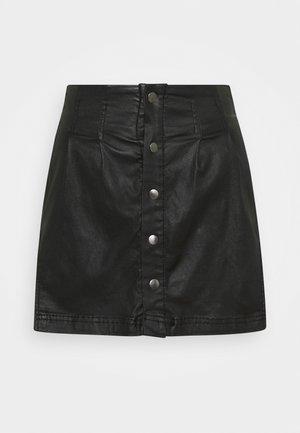 SIDE CURVE SEAMED  SKIRT - Minifalda - black