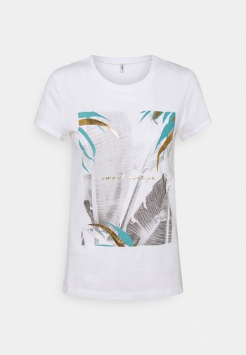 ONLMACY LIFE FIT TOP BOX - T-shirts med print - bright white