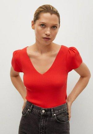 Print T-shirt - koraalrood