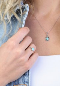 Lucardi - Ring - zilverkleurig/turquoise - 1