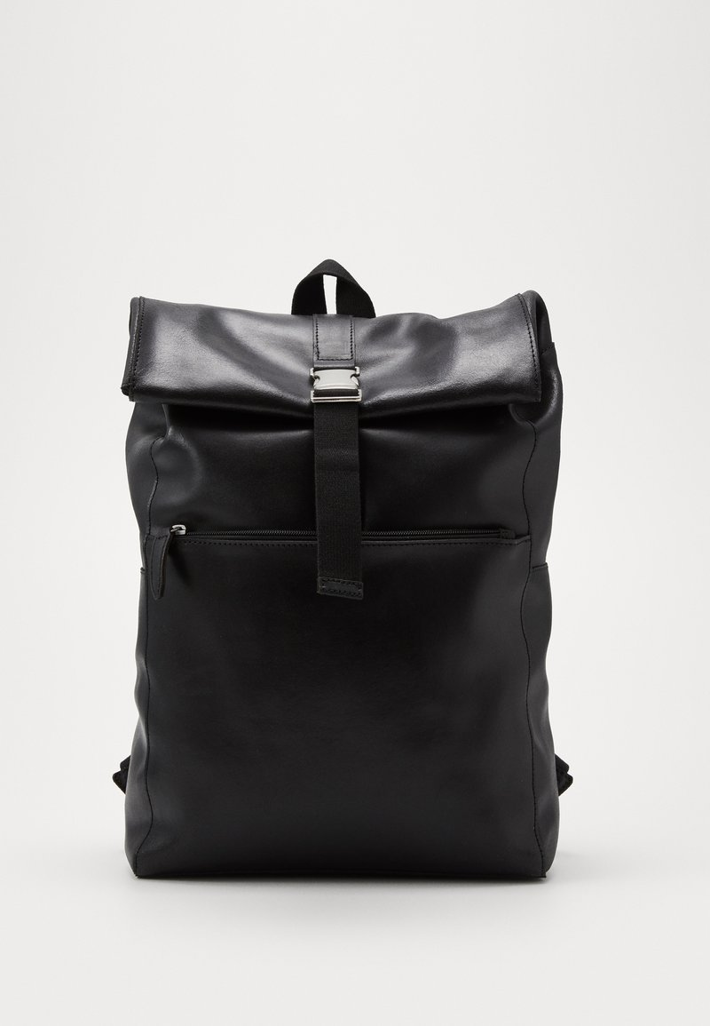 Pier One - UNISEX LEATHER - Rucksack - black