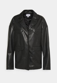 PATCH POCKET JACKET - Faux leather jacket - black