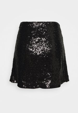SEQUIN - Mini skirt - black