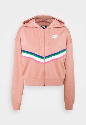 Mikina na zip - rust pink/white