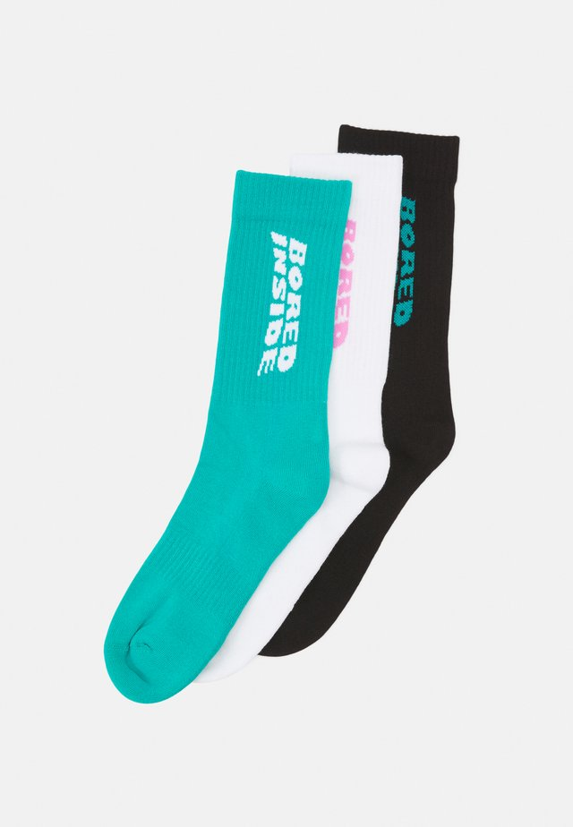 BORED INSIDE 3 PACK - Calcetines - black /teal /pink