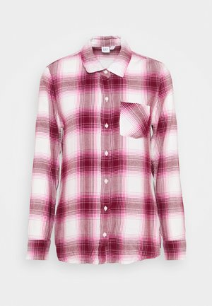 DRAPEY PLAID  - Button-down blouse - raspberry/milk