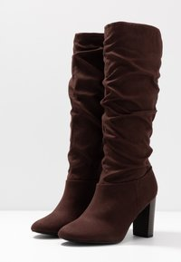 Dorothy Perkins Wide Fit - WIDE FIT KISS 70S LONG BOOT - High heeled boots - choc - 4