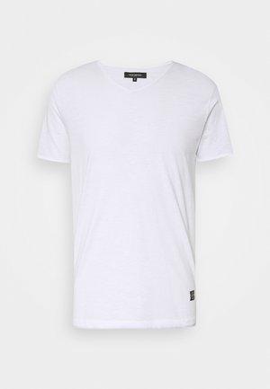 RAW NECK SLUB TEE - Basic T-shirt - white