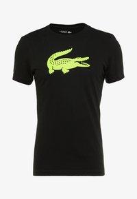 Lacoste Sport - BIG LOGO - T-shirt z nadrukiem - black/fluo zest - 4