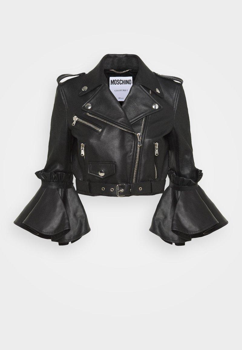 MOSCHINO - Kožená bunda - black